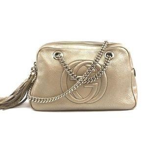 Gucci Soho Tassel Gold Leather Chain Bag